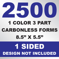 2500 3 Part Carbonless Forms 8.5x5.5