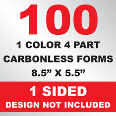 100 4 Part Carbonless Forms 8.5x5.5