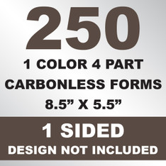 250 4 Part Carbonless Forms 8.5x5.5