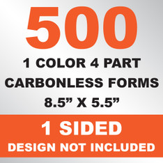 500 4 Part Carbonless Forms 8.5x5.5