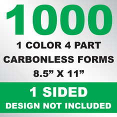 1000 4 Part Carbonless Forms 8.5x11