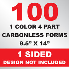 100 4 Part Carbonless Forms 8.5x14