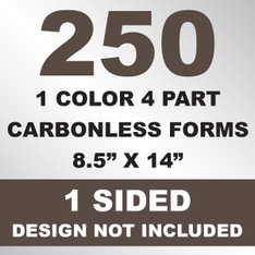 250 4 Part Carbonless Forms 8.5x14