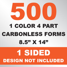 500 4 Part Carbonless Forms 8.5x14