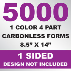 5000 4 Part Carbonless Forms 8.5x14