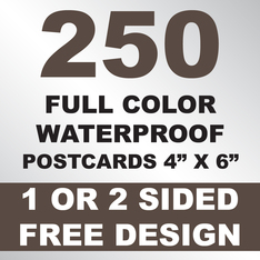 250 Waterproof Postcards 4x6