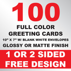 100 Greeting Cards 10x7 w/ Envelopes
