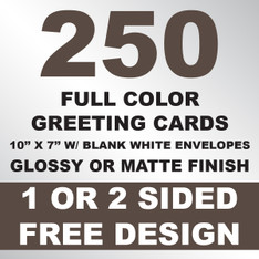 250 Greeting Cards 10x7 w/ Envelopes
