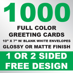 1000 Greeting Cards 10x7 w/ Envelopes