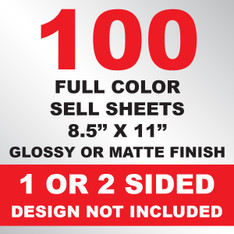 100 Sell Sheets 8.5x11