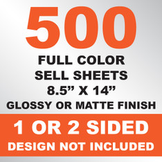 500 Sell Sheets 8.5x14
