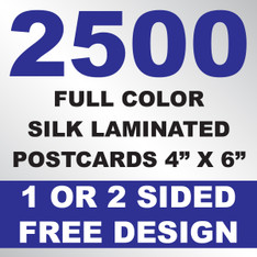 2500 Silk Laminated Postcards 4x6