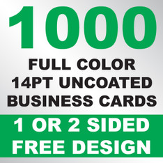 1000 14PT Uncoated Business Cards