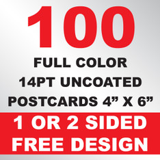 100 14PT Uncoated Postcards 4x6