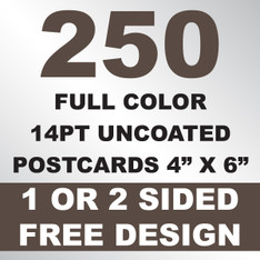 250 14PT Uncoated Postcards 4x6