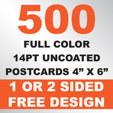 500 14PT Uncoated Postcards 4x6