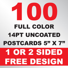 100 14PT Uncoated Postcards 5x7