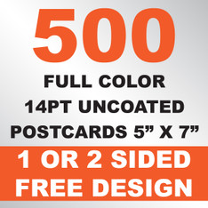 500 14PT Uncoated Postcards 5x7