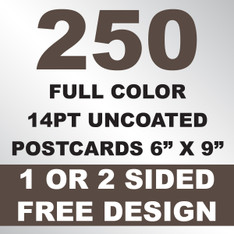 250 14PT Uncoated Postcards 6x9