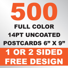 500 14PT Uncoated Postcards 6x9