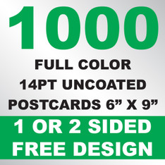 1000 14PT Uncoated Postcards 6x9