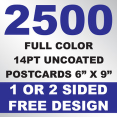 2500 14PT Uncoated Postcards 6x9