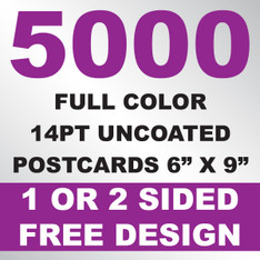 5000 14PT Uncoated Postcards 6x9