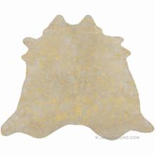 Devore Metallic Gold Cowhide Rug