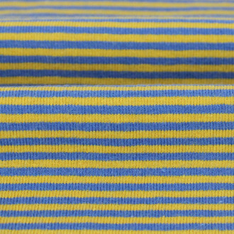 2 mm Yarn Dyed Stripes:  Blue & Ochre