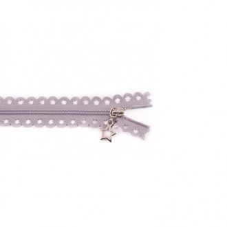 Star Cut Zipper: Medium Grey (25 cm)