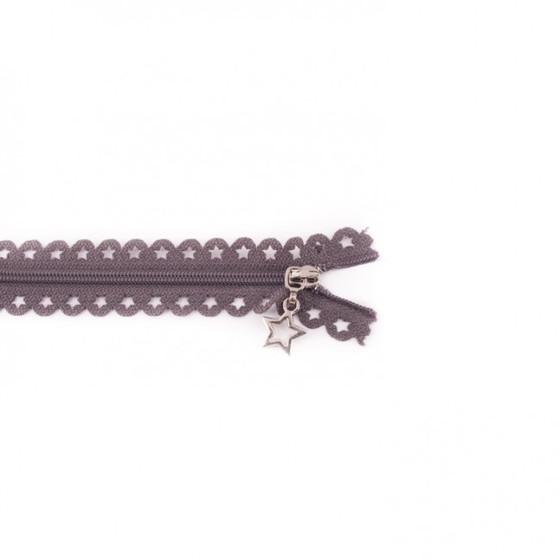 Star Cut Zipper: Dark Grey (25 cm)