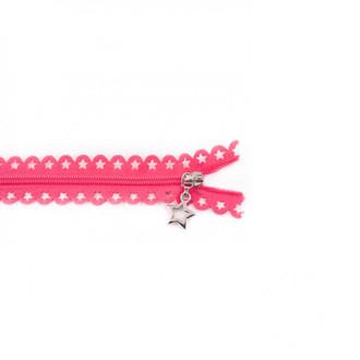 Star Cut Zipper: Fuchsia (25 cm)