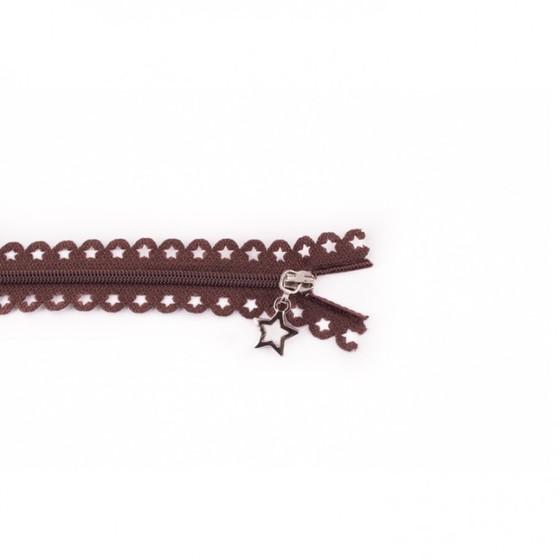 Star Cut Zipper: Brown (25 cm)