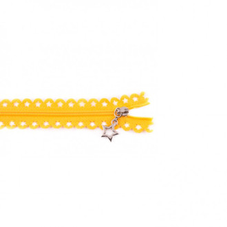 Star Cut Zipper: Yellow (25 cm)