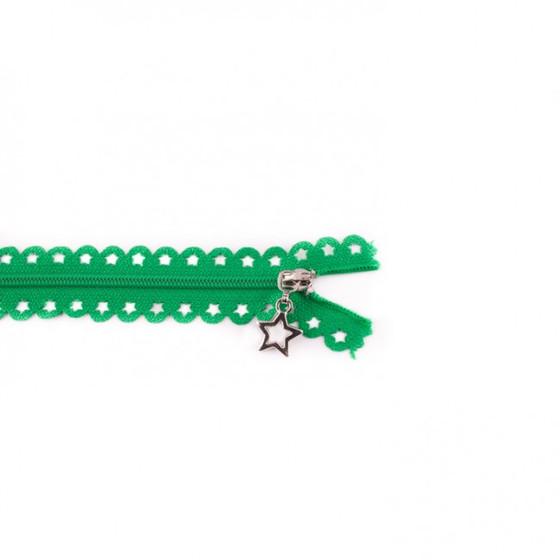 Star Cut Zipper: Green (25 cm)