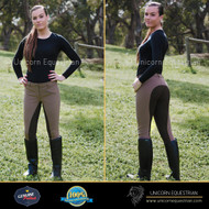 Professional Woven Ladies Camel Breeches With Full Clarino Seat