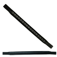 Browband Swarovski Crystal stone Pattern row with Black Leather Padded Brow band