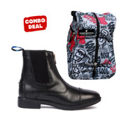 Front Zip Horse Riding Jodhpur Boots With Graffiti Jodhpur Bag