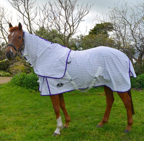 Desire Cotton Ripstop Purple White Check Detachable Neck Show Horse Rug