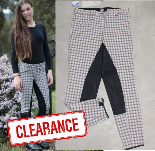 Beige Check Breeches W/ Black Suede Full Seat