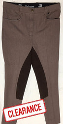 Brown -Denim -Jodhpurs- w/ -Full- Leather- Seat