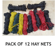 Set of 12 Slow Feeding Multicolor Polypropylene Horse Hay Nets