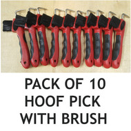 Set of 10 Red Horse Hoof Picks Hoof Cleaning Brush