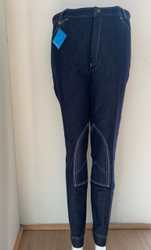 Mens Stretchy Navy Denim Jodhpurs w/ White Stitch