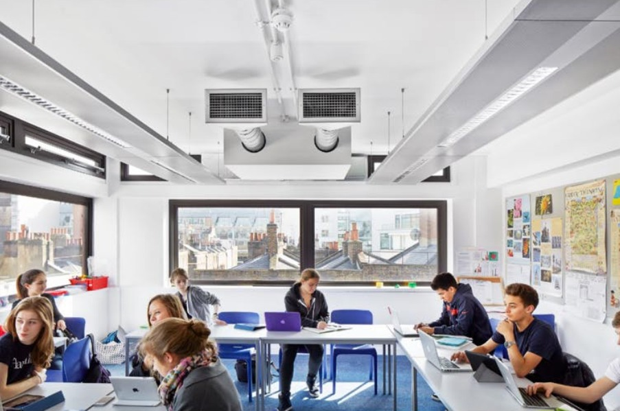 Halycon School in London. Classroom painted with Airlite Paint to improve indoor air quality