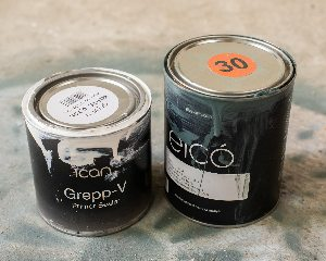 Andrea's used tins after painting metal garden furniture