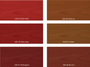 Auro 160 Natural Wood Stain.  Brown and Red shades.  Note: Colours provided as indicative only. Final colours will depend on the type and colour wood the product is applied to.