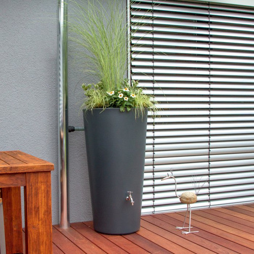 Rainbowl Flower (slate) - 150 Litres. Water butt with planter.