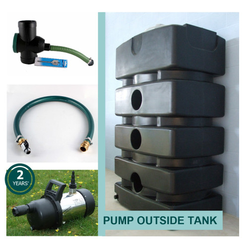 Space Saving Rainwater System with SteelPump outside the Water Tank