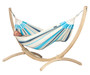 Canoa - FSC certified Spruce Hammock Stand showing classic hammock in place (not included).